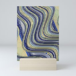 mae - wavy abstract design periwinkle navy blue soft yellow Mini Art Print