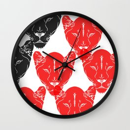 Lion Pattern Black and Red Wall Clock