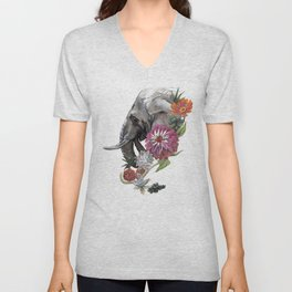 Elephant : Memory of Elephants Unisex V-Neck
