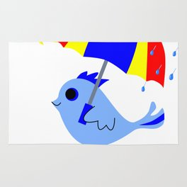 Blue Bird Think Positive Image Rug