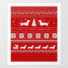 Love Joy Peace Wiener Dogs Art Print