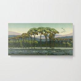 Japanese Block Print Summer Landscape Metal Print