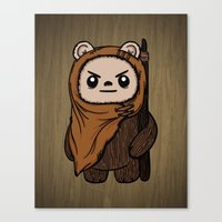ewok Canvas Prints featuring Cartoon Ewok by Team Rapscallion