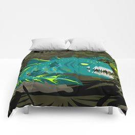 deep abyss light fish Comforters
