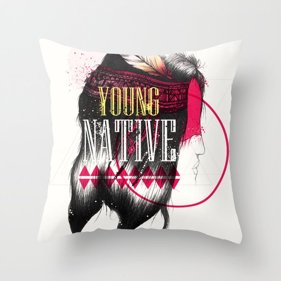 Young Native Throw Pillow