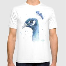 Peacock Watercolor Painting Bird Animal Mens Fitted Tee MEDIUM White