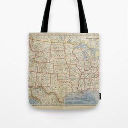 Old and Vintage Map of every States of The United States Of America Tote Bag