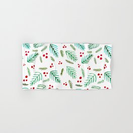 Christmas tree branches and berries - green and red Hand & Bath Towel