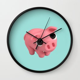 Rosa the Pig is shy Wall Clock