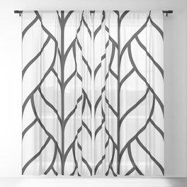 Black & White Leaves Sheer Curtain