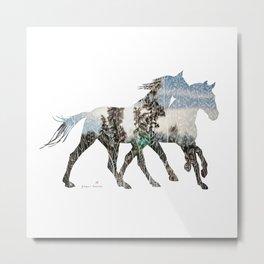 Autumn Horses Metal Print