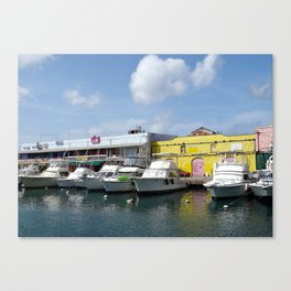 Boats in Bridgetown Canvas Print