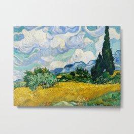Vincent Van Gogh - Wheat Field with Cypresses Metal Print