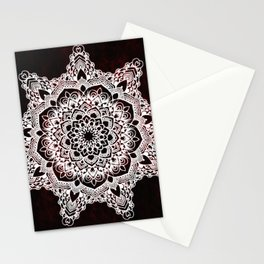 Mandala Ruby Spirit Red Spiritual Zen Bohemian Hippie Yoga Mantra Meditation Stationery Cards