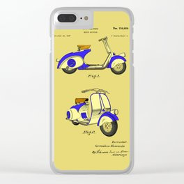 Motor Bicycle Patent Circa 1949- Blue Clear iPhone Case