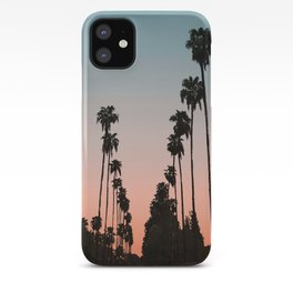 California Sunset // Palm Tree Silhouette Street View Orange and Blue Color Sky Beach Photography iPhone Case