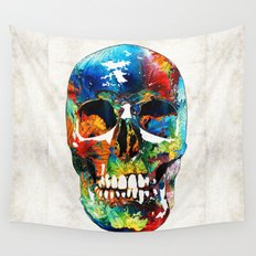 Colorful Skull Art - Aye Candy - By Sharon Cummings Wall Tapestry