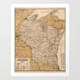 Vintage Wisconsin Railroad Map (1900) Art Print