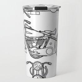 Henderson Motorcycle Prototype Streamliner Main Spec Pre-Patent Drawing Travel Mug
