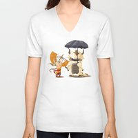 ghibli V-neck T-shirts featuring Cross over Ghibli Appa  by Minette Wasserman