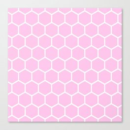 White and light pink honeycomb pattern Canvas Print