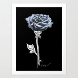 Rose 03b Botanical Flower * Blue Black Rose Art Print