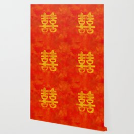 Double Happiness Symbol on red painted texture Wallpaper