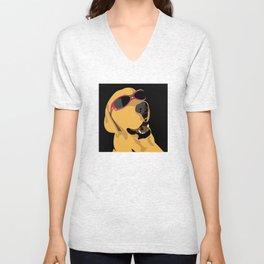 Sunglass dog red Unisex V-Neck