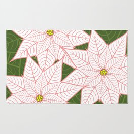 White and Pink Poinsettias, Christmas Holiday Flowers Rug