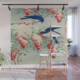Ohara Koson Birds In Snow Japanese Woodblock Print Vintage Historical Japanese Art Wall Mural