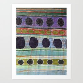 Dominating Black Round Shapes In Horizontal Stripes   Art Print
