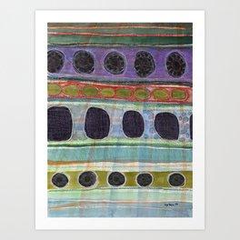 Dominating Black Round Shapes In Horizontal Stripes   Art Print
