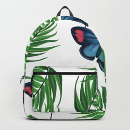 Green tropical leafs and blue butterflies pattern Backpack