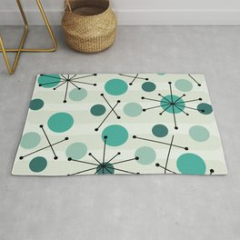 Atomic Age Dots And Starbursts Aquamarine Rug