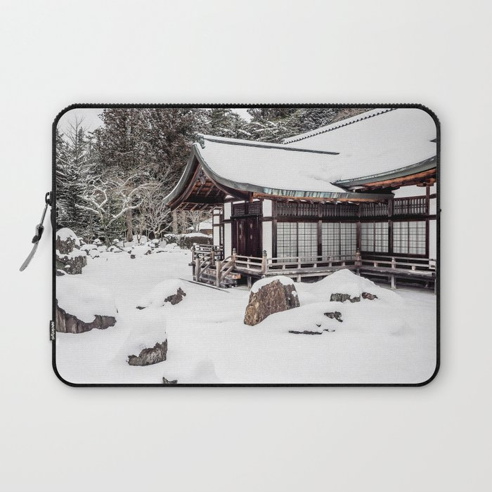 Japanese Buddhist Temple in Snow Laptop Sleeve