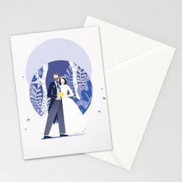 sweet and happy cute couple together wedding autumn spring groom and bride happy I Stationery Cards