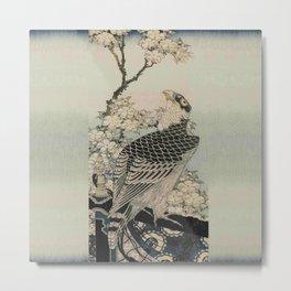 Hokusai -falcon next to a plum tree in bloom - 葛飾 北斎,hawk,bird. Metal Print