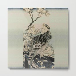 Hokusai -falcon next to a plum tree in bloom - 葛飾 北斎,hawk,bird. Metal Print