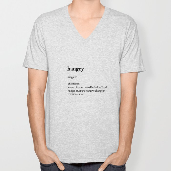 Hangry black and white contemporary minimalism typography design home wall decor bedroom Unisex V-Neck