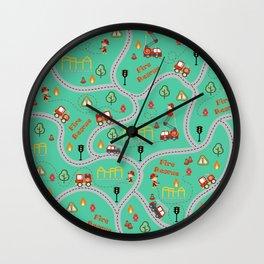 Fireman cute seamless kids pattern mint Wall Clock