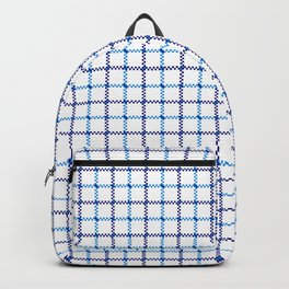 Classic Blue & White Large Tattersall Check Pattern Backpack