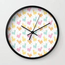 Pastel Kawaii Llamas Wall Clock