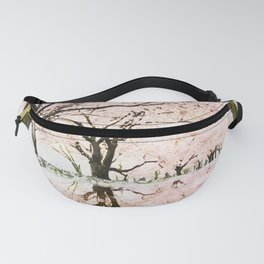Japanese cherry trees watercolor painting Fanny Pack