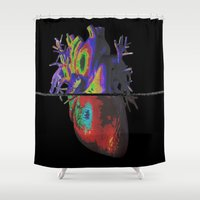anatomical heart Shower Curtains featuring Heart by Brandon Czekay