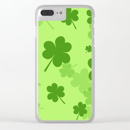 leaf clover green line Clear iPhone Case