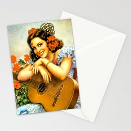 Mexican Calendar Girl with Guitar by Jesus Helguera Stationery Cards