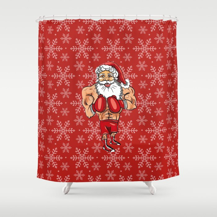 Boxing Santa Shower Curtain By Bigtexfunkadelic