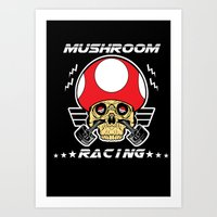mario kart Art Prints featuring Mushroom racing mario kart by Buby87