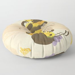 Print: Queen (Bee) of Clubs Floor Pillow
