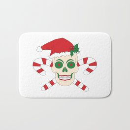 Creepy Christmas Santa Skull Bath Mat